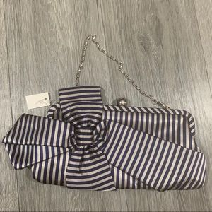 Navy & Taupe Striped Bow Evening Handbag